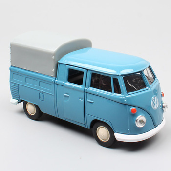 1/36 Mini Welly T1 Double Cabins Pickup car truck cargo van Kombi bus Camper Vehicles diecast pull back toy scale model for boys