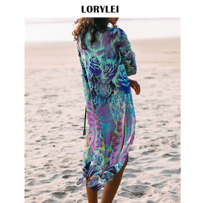 High Heels Women Beach Swimsuit Cover Up Boho Floral Printed Open Front Kimono Cardigan Long Sleeves Belted Wrap Front Side Split Maxi Robe