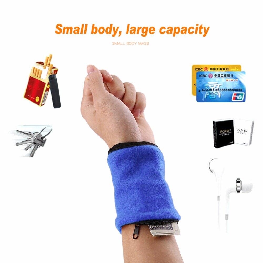 Wallet Wrist Band Fleece Zipper Travel Gym Cycling Sport Wallet Sweat Absorbtion Travel Sport Wrist Wallet Hiking Accessories