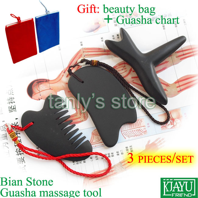 Traditional Bian Needle therapy bian-stone massage guasha tool  (comb + plate + cone) 3pieces/set 0 25mm 540 needle skin maintenance painless micro needle therapy roller black red