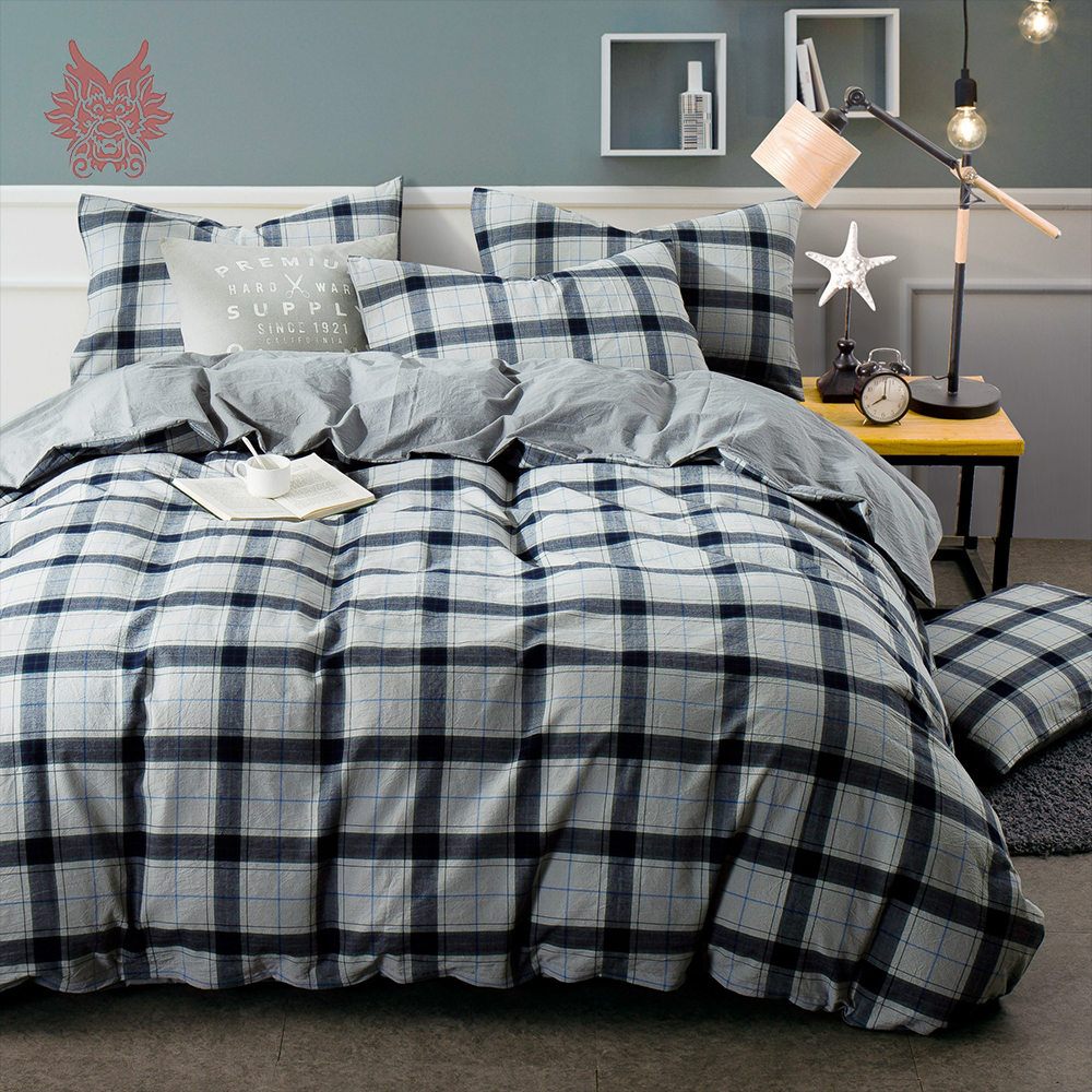 pastoral style grey blue green red plaid bedding sets 100 pure cotton duvet cover set