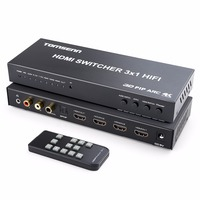 Tomsenn 4K HDMI Switch Box Selector 3 In 1 Out HDMI Audio Extractor Splitter with Optical SPDIF & L/R Audio Out