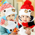 1 Set Winter Warm Ear Protection Baby Wool Cap,Cute Bear Pattern Plus Velvet Baby Hat With Scarf,The Best Gift For Boys&Girls