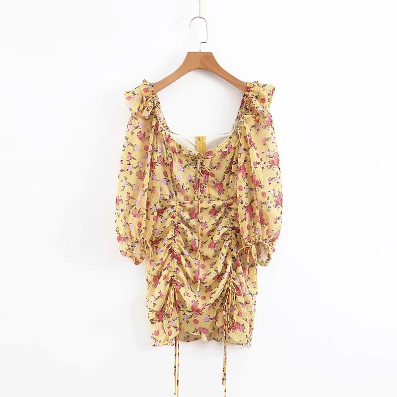 Image 3 - Summer dress 2019 Boho floral print dress women sexy lace up bow 