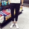 Moda verão dos homens grade xadrez bolsos calças nono calças masculino magro calças pés casual juventude