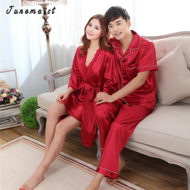 Искусственный Шелк Пижамы Мужские Наборы Мужчины Мужской Пижамы Сна и lounge Китайский Красный Свадебный Pijamas Для Женщин Пара Пижамы Женщина пижамы