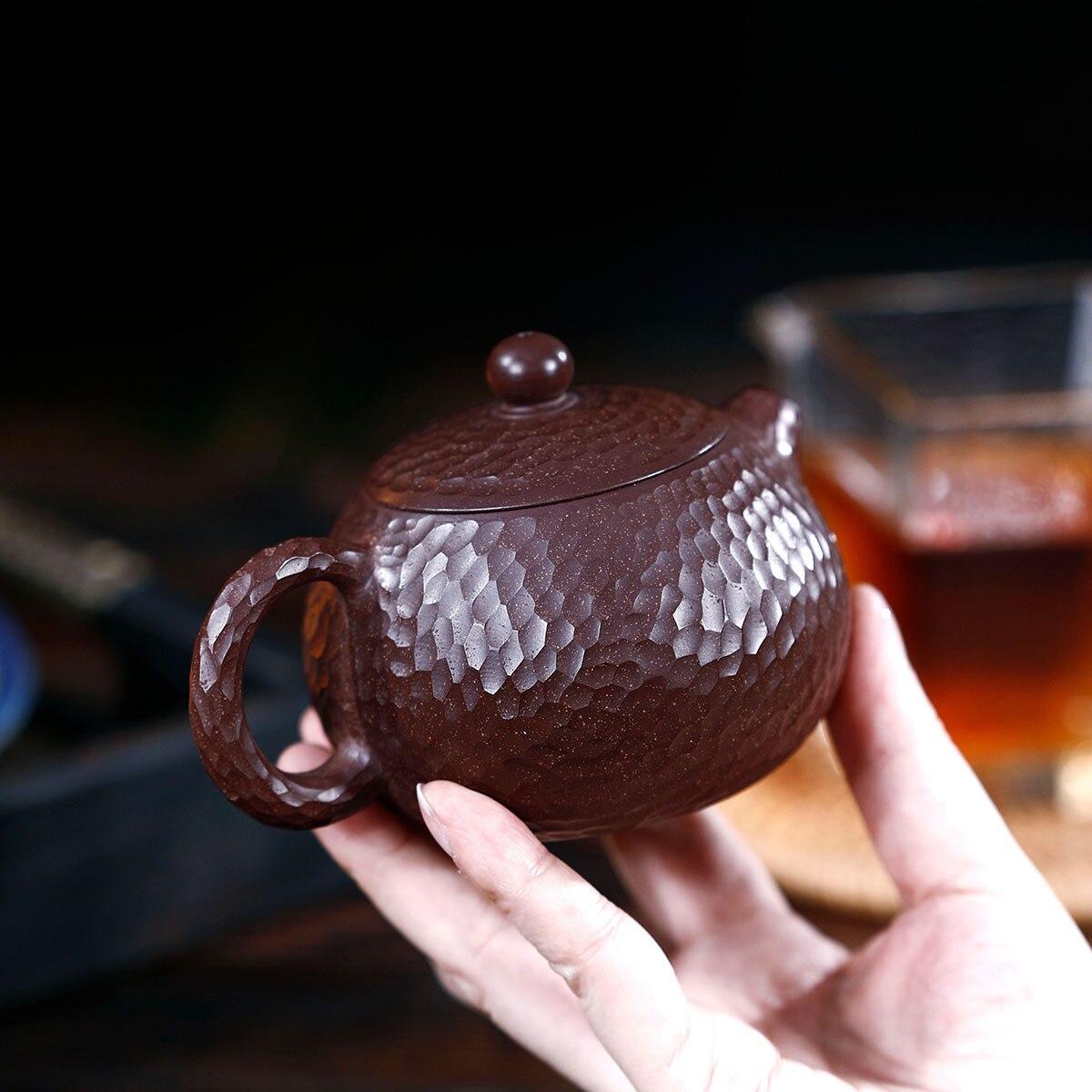 Modèle manuel de marteau de minerai brut de boue pourpre et rouge Xi Shi bouilloire Kungfu théière en ligne ensemble de thé Infusion domestique de costume de thé - 5