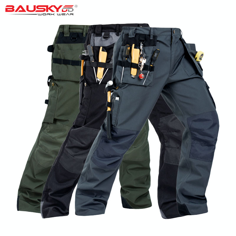все цены на Men Work Pants Multi-pockets Wear-resistant Workwear Trousers Mechanic Cargo Pants Working High quality Machine Repair Pants