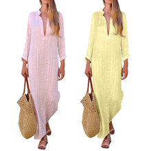 Summer Vintage Women V Neck Sleeve Casual Loose Cotton Linen Dress Solid Party Work Sundress