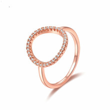 все цены на jingyang Fashion Brand Ring For Women Girls Round Shape Crystal Zircon Wedding Engagement Jewelry Rings Rose Gold Silver Bague онлайн