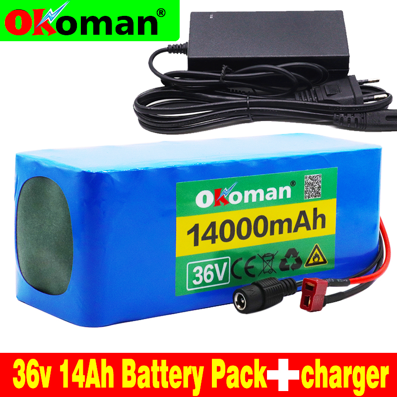 36V battery 10S4P 14Ah 18650 lithium battery pack 500W high power battery 42V 14000mAh Ebike electric bicycle BMS+42v charger