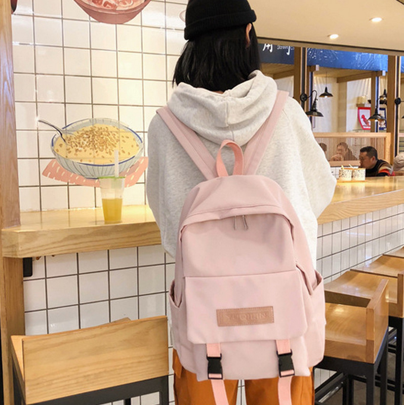 Nylon Waterproof Backpacks Women School Backpack for Teenage Girls Mochila Feminina 2019 Preppy Style High School Bag Pack Pink