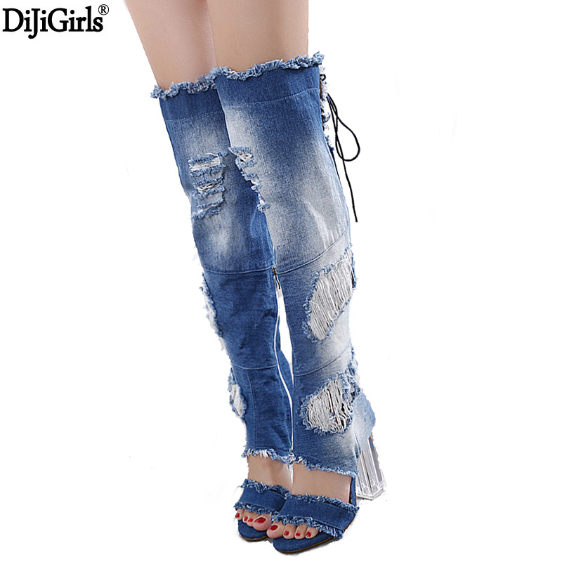 Women Shoes Denim Jeans 2017 High Heel Summer Ankle Boots Sexy Knee High Gladiator Sandals Fashion Transparent Heel Denim Shoes sokotoo men s colored painted snake 3d print jeans fashion black slim stretch denim pants