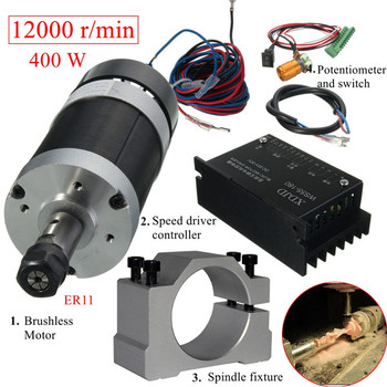 400W 12000rpm ER11 Chuck CNC Brushless Spindle Motor  DC Machine Tool with Driver Speed Controller and Clamp machine tool