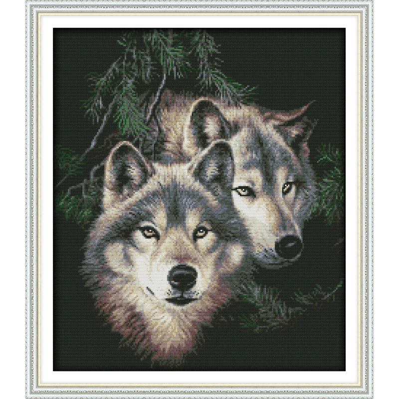 Everlasting love Christmas Two wolves (2) Chinese cross stitch kits Ecological cotton stamped 11 14CT New store sales promotion