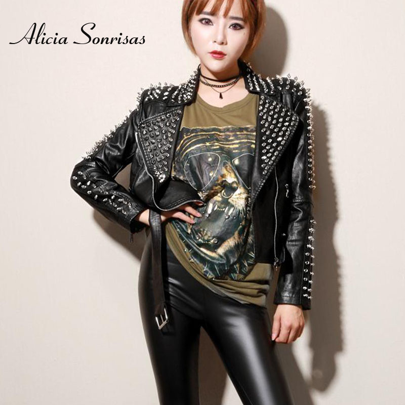 Women   Leather   Jacket New Spring Autumn Punk Motorcycle Slim Short Rivets PU Jackets Street Studded   Leather   Coats AS1266