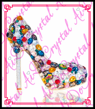 Aidocrystal 2016 New arrived women High Heel rhinestone pumps party wedding shoes fashion thin heels free shipping