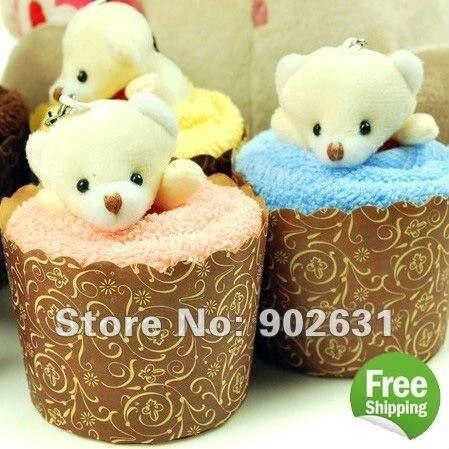 So Cute Bear~Accept Credit Card 5pcs/lot New Customized Cotton Towel Lovely Bear Cupcake Towel Cake