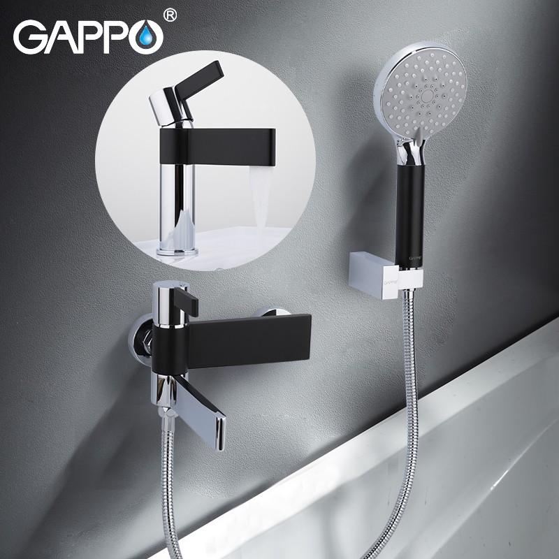 GAPPO Sanitary Ware Suite brass water tap chrome and black bathtub faucet mixer shower set with basin faucet torneira do anheiro