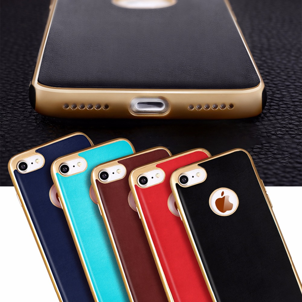 Luxus Goldenen Rand Fundas Fällen Für Apple Iphone 7 Weichen Silikon Tpu Pu Leder Rückseite Fall Für Apple Iphone 7 4 7 Coque Case For Case For Applecase Case Aliexpress