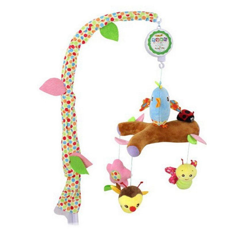 Baby Hand Bed Crib Musical Bell Ring Rattle Mobile Toy infant Crib Music Cute bird Hanging Baby Rattle Toy for Baby Gift