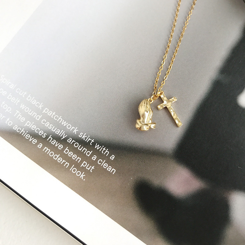 LouLeur 925 sterling silver prayer palm Cross pendant necklace gold temperament lucky necklace for women religion jewelry gift