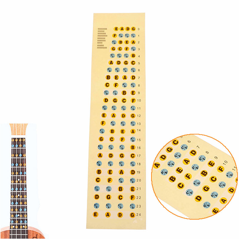 Just New Fingerboard Frets Decals For Beginner Practice Ukulele Fretboard Note Map Sticker Guitar Parts & Accessories