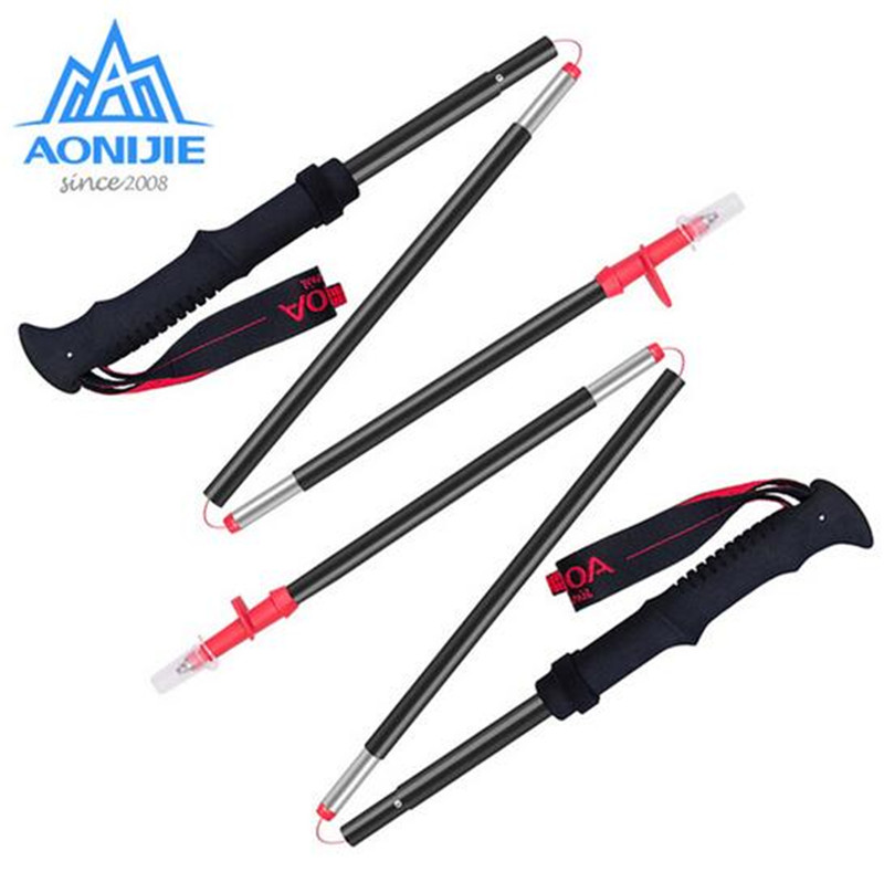 AONIJIE Outdoor 4 Section Folding Alpenstocks Ultralight Carbon Steel Walking Stick Hiking Cane Mountaineering Trekking Poles
