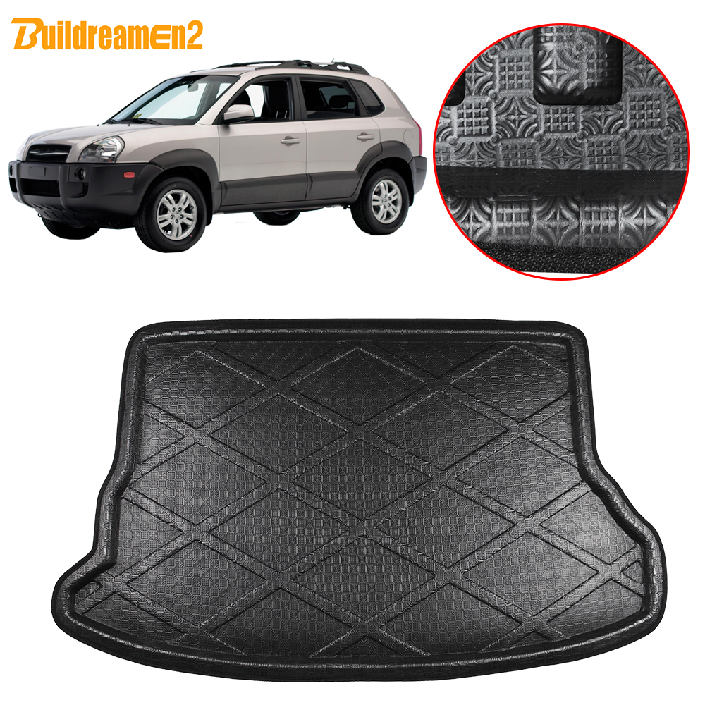 Buildreamen2 Car Trunk Mat Tray Boot Liner Tail Luggage Floor Cargo Carpet Mud For Hyundai Tucson 2004 2005 2006 2007 2008 2009