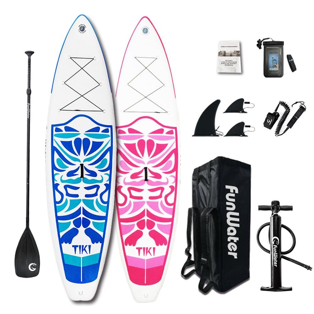 Cadeaux du Jour de Valentine FunWater Gonflable Paddle Board Sup Paddle, Sac, Laisse, Pompe, sac de téléphone stand up paddle surf sup