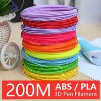3d печать Ручка abs 200 мм pla нити М 1,75 м 20 цветов идеальные 3d ручки 3d Ручка пластик экологическая безопасность пластик подарок на день рождения