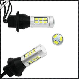 Image 2 - 2pcs 21 SMD לבן/אדום כפול צבע 7440 7444 T20 LED החלפת נורות לרכב גיבוי הפוך אורות & אחורי ערפל מנורת המרה