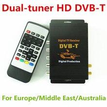 HD Coche DVB-T Doble sintonizador Receptor de TV Digital Caja de 140-190 km/h Compatible con MPEG2 y MPEG4 Para europa/Oriente medio/Australia