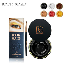 BEAUTY GLAZED Black White Yellow Waterproof Eyeliner Gel Makeup Cosmetic Gel Eye Liner With Brush 24 Hours Long-lasting For Wome недорого