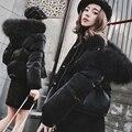 Moda casaco curto para baixo das Mulheres Jaqueta de Inverno 2016 mulheres para baixo casacos de Guaxinim fino grande gola de pele espessamento outerwear parka