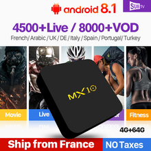 MX10 IP TV Box Android 8.1 France IPTV Arabic 4+64G 4K Italy French Portugal Turkey SUBTV Code IPTV Subscription 1 Year IPTV Box цена в Москве и Питере