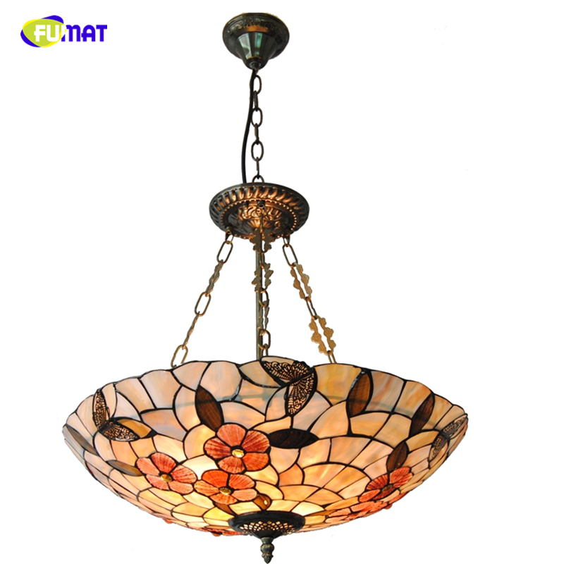 FUMAT 21 Tiffany Natural Shell Shade Chandeliers European Indoor Lighting Butterflies & Floral Decor Chandelier For Living Room