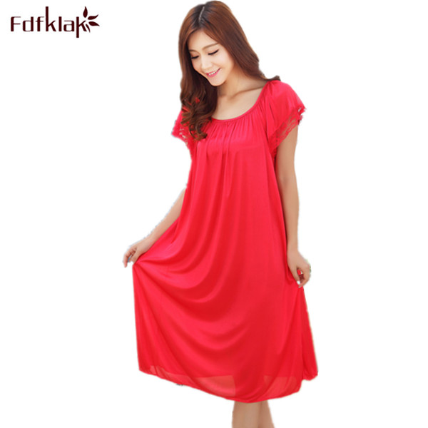 Large Size Women   Nightgowns   Silk Satin Robes Short-Sleeved Long Sleepwear Dress Summer Casual   Sleepshirts   Dresses For Women E635