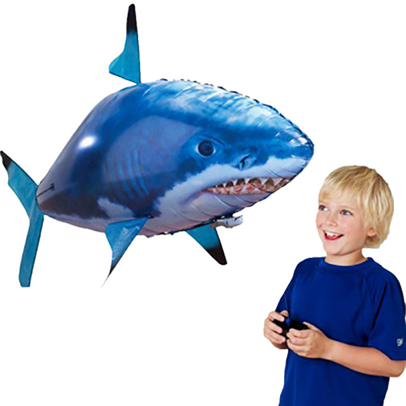 Funny Remote Controlled Flying Shark RC Air Swimming Fish Toys Drone RC Shark Fish Balloons Inflatable Plane Kids RC Toys Gifts 1pcs remote control flying air shark toy clown fish balloons rc helicopter robot gift for kids inflatable with helium fish plane