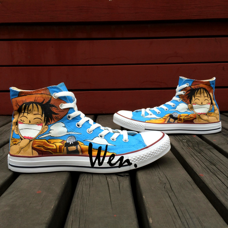 Wen Hand Painted Shoes Anime Custom Design One Piece Luffy Smiling Men Women's High Top Canvas Shoes for Christmas Gifts wen anime hand painted shoes design custom soul eater maka albarn death the kid high top men women s canvas shoes