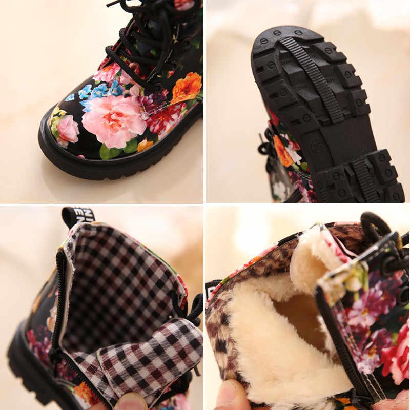 Ботинки с цветочным принтом, детские ботинки «Мартенс» для мальчиков и девочек, кожаные ботинки, Детские мотоциклетные ботильоны, детские ботинки