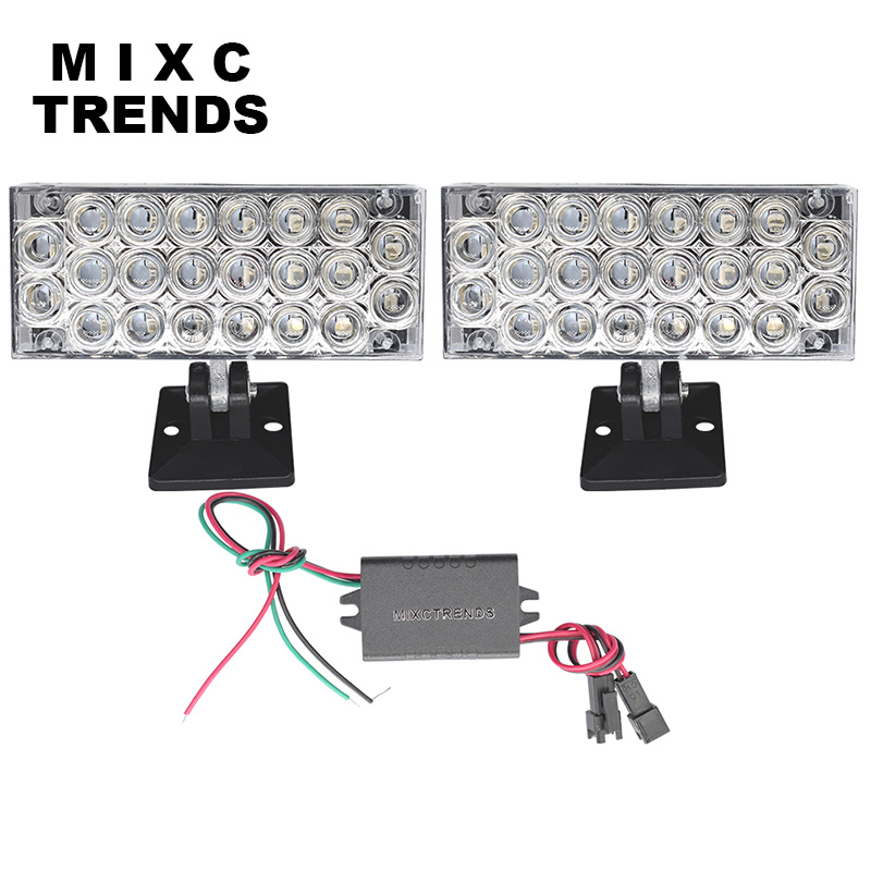 MIXC TRENDS External Lights 12V 2x 22 LED Brake Emergency Warning Flashing Strobe Light For Car Net Grille Auto Police Lights