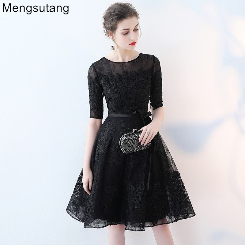 Robe de soiree 2019 Black O-Neck Lace short   evening     dress   vestido de festa prom   dresses   party   dress   tailor Custom made