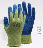 Анти Cut Детская Безопасность перчатки 10 датчик арамидных Волокно подкладка с латексом жесткошерстного устойчивость к порезам рабочие перч