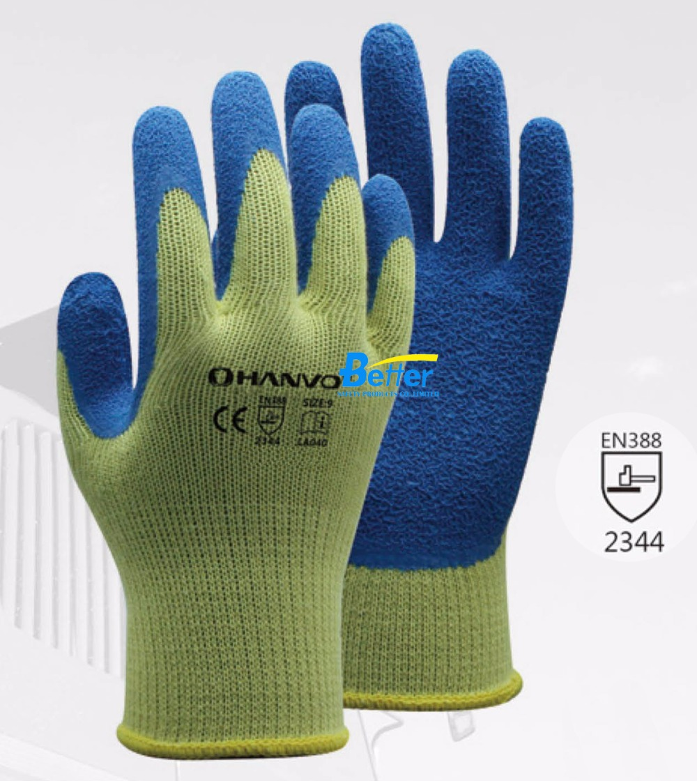 Anti Cut Safety Glove 10 Gauge Aramid Fiber Lining With Latex Rough Coated Cut Resistance Work Glove цены онлайн