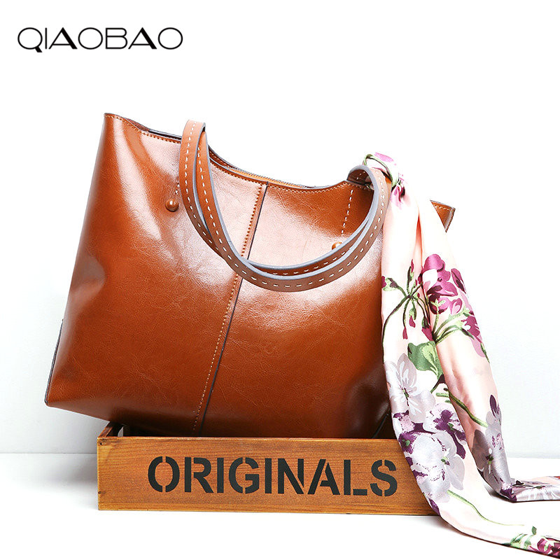 QIAOBAO Brand Women's Real Cow Leather Handbags Shoulder bag designer Luxury Female Tote Large Capacity Zipper bags for Women brand 2017 women s leather handbags women shoulder bag designer luxury female tote capacity zipper bags for women bolsa feminina