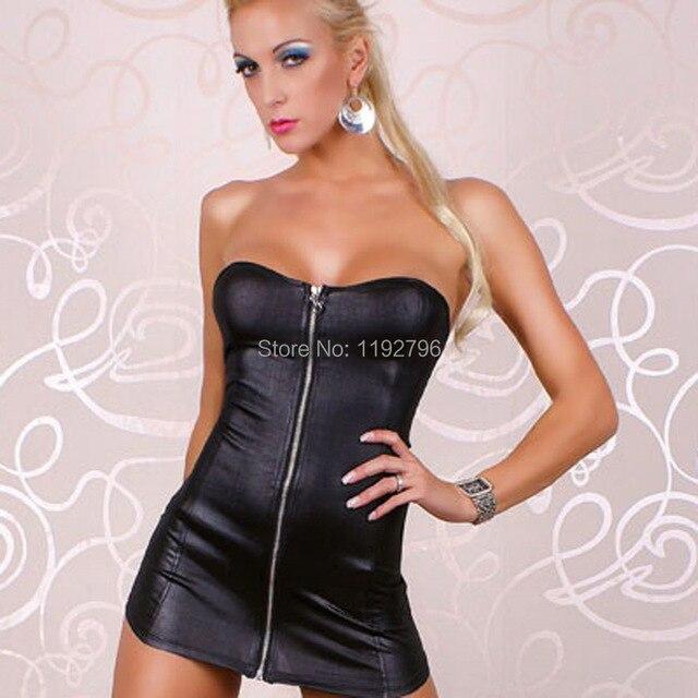 2014 New Women Sexy Leather Dress Sleeveless