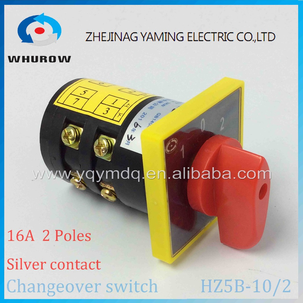 Rotary switch HZ5B-10/2 silver contact Ue 380V Ith 10A 2 poles 3positon 1-0-2 knob cam changeover universal switch motor lw8 10d222 3 rotary handle universal cam changeover switch ui 500v ith 10a
