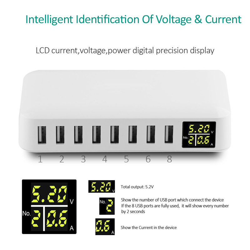INGMAYA Multi Port USB լիցքավորիչ 5V8A LED Showույց - Բջջային հեռախոսի պարագաներ և պահեստամասեր - Լուսանկար 2