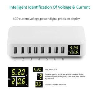 Image 2 - Ingmaya Đa Cổng USB Sạc 5V8A LED Thể Hiện Thời Gian Thực Sạc Cho iPhone iPad Mini Samsung Huawei Điểm Ảnh Mi DV bộ Chuyển Đổi Nguồn Điện